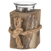 Square Natural Wood Candle Holder